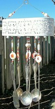 OOAK HAND CRAFTED WIND CHIMES VINTAGE SILVERWARE * NAPKIN HOLDER BASE - $36.58