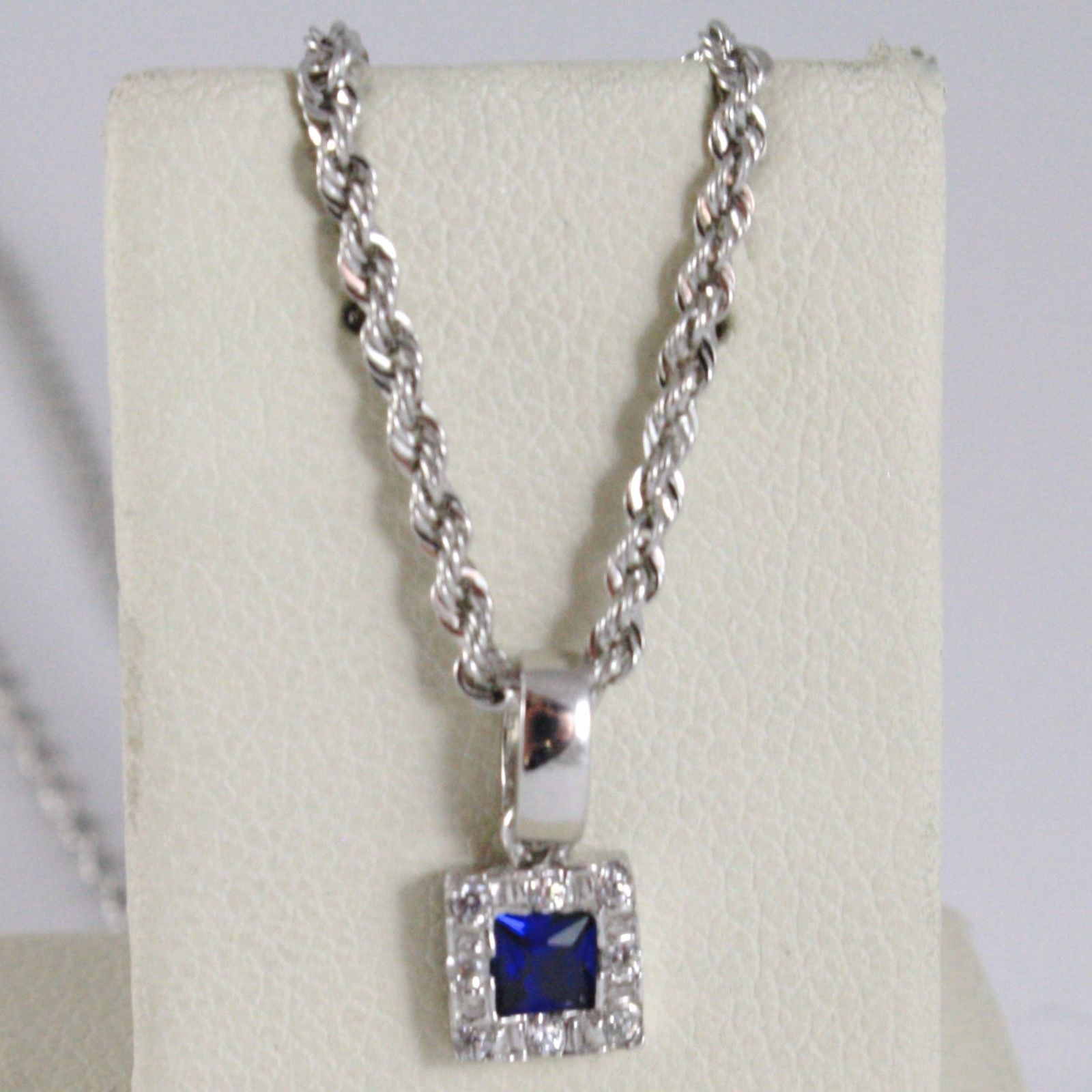 18K WHITE GOLD NECKLACE ROPE CHAIN & SQUARE PENDANT, BLUE ZIRCONIA PRINCESS CUT