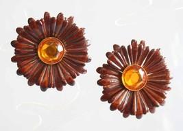 Fabulous Chocolate Enamel & Honey Rhinestone Fl... - $14.80
