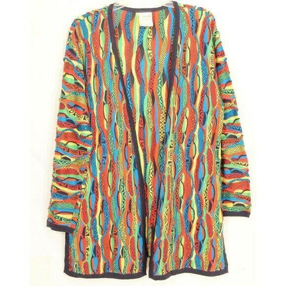 COOGI-sweater-SZ-M-100-silk-cardigan-brilliant-colorful lightweight image 6