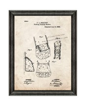 Folding Fishing Basket Patent Print Old Look with Black Wood Frame - $24.95+