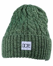 Dope Couture Yellow/Green Black Cable Knit Cuff Fold Beanie Winter Hat NWT