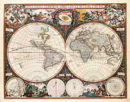 1660 Richly illustrated Decorative Historic World Map Frederick de Wit A... - $12.38