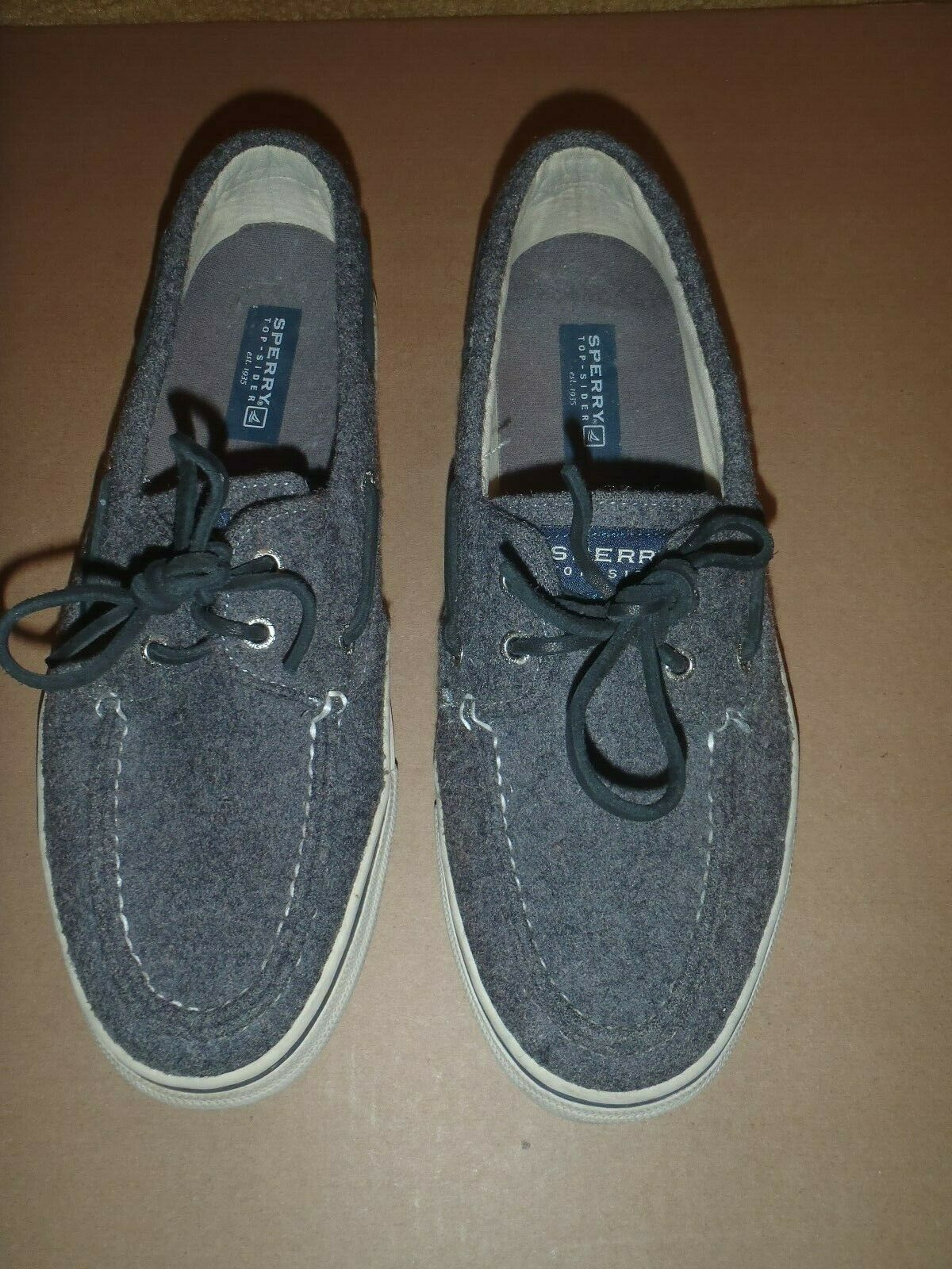 Primary image for Sperry Top-Sider Bahama Gray Wool 2 Eyelet Boat Shoe Mens 11M