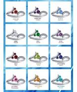 14k White Gold Finish 925 Sterling Silver Disney Womens Gemstone Birthst... - $34.99