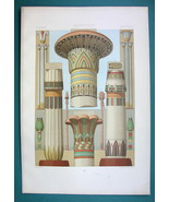 EGYPT Egyptian Column & Pillars Ornaments - COLOR Litho Print A. Racinet - $22.95