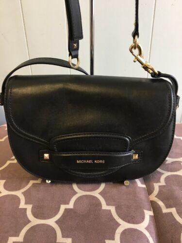 Michael Kors Cary Leather Saddle Crossbody Handbag - Black #146