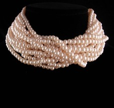 HUGE Vintage Pearl necklace - 9 strand pearl choker - Anniversary gift -... - $135.00