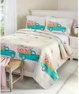 Spring Truck Full Queen QUILT or 3 PC SET or PILLOW SHAM Floral Garden Bed - $11.43+