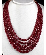 NATURAL RED SPINEL BEADS CABOCHON 5 LINE 750 CARATS LADIES GEMSTONE NECK... - $7,220.00