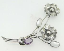 Sterling Moonstones and Amethyst Flower Pin (#J4258) - $150.00