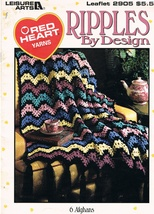 Leisure Arts Leaflet 2905 Ripples by Design Crochet Afghan Pattern Book - $7.99