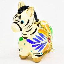 Handcrafted Painted Ceramic White Zebra Confetti Ornament Made in Peru image 2