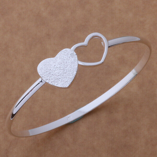Primary image for Twin Heart Wire Bangle Bracelet 925 Sterling Silver NEW