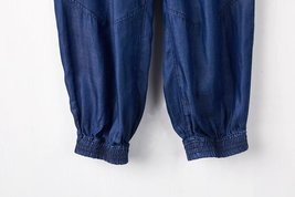 Light Blue Drawstring Elastic Waisted HAREM PANTS Denim CROP PANTS Trousers NWT image 7