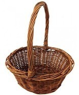 Oval Shaped Willow Handwoven Easter Basket Braided Rim Handle Plastic I... - $23.02