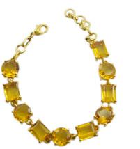 pleasing Citrine CZ Gold Plated Yellow Bracelet genuine ordinary US gift - $26.72
