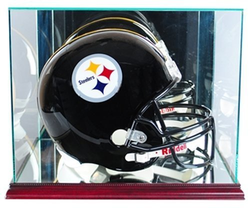Perfect Cases NFL Rectangle Football Helmet Glass Display Case, Cherry