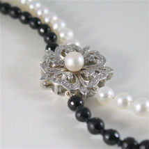 SOLID 18K WHITE GOLD NECKLACE WITH ROUND PEARLS, ONYX AND DIAMONDS MADE IN ITALY image 3