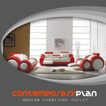 White and Red 3 Piece Living Room Franco Italian Design Set w Footrest 8 Shape - $2,995.00