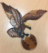 "Huge American Bald Eagle Vintage Wood Carving  Wingspan Globe World 29"" ... - $292.05"