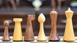 Repro Modern Mid Century Minimalist Hermann Ohme wooden weighted Chess Set M0035 - $102.99