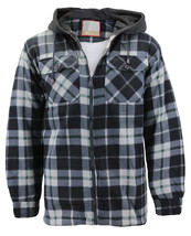 Men's Heavyweight Flannel Zip Up Fleece Lined Sherpa Hoodie Jacket w/ Defect - L