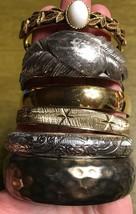 Set Of 6 Vintage Silver Tone & Gold Tone Bangle Bracelets - $9.95