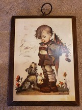 Wood Wall Art Plaque German Hummel Paper On Wood Boy with Dog - $12.86