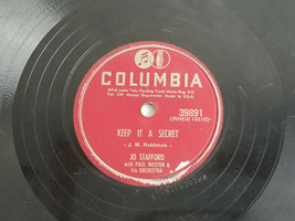 "Jo Stafford Keep It a Secret / Once to Every Heart 1952 10"" Record E 78 ... - $9.85"