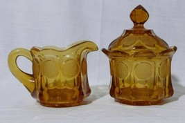 Vintage Amber Fostoria Coin Art Glass Covered Sugar Bowl and Cream Pitch... - $39.55