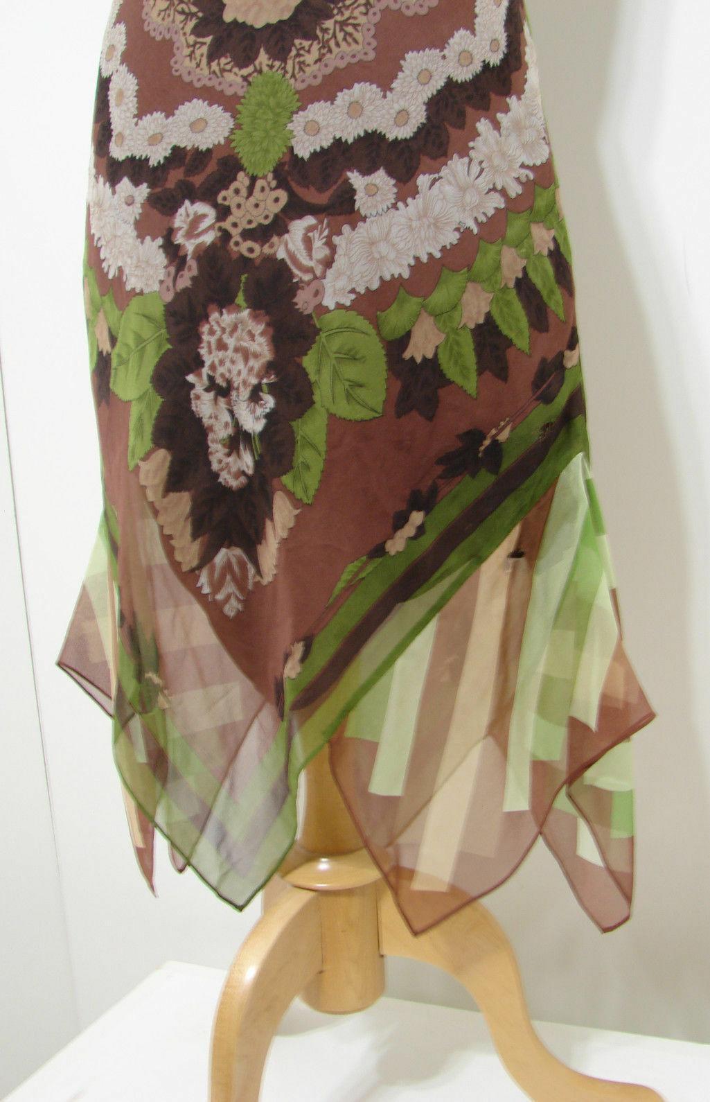 BCBG Maxazria 100% Silk Brown Floral Leaf Print Asymmetrical Hem Halter Dress 4