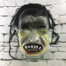 Vintage Vampiro Drácula Goma Máscara Con / Pelo Clásico Terror Halloween... - $39.59