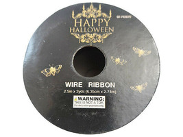 "Momentum Halloween 2.5"" Wire Ribbon, 3 Feet, Black & Gold image 2"