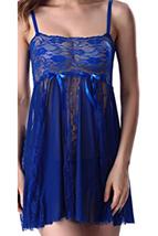 Unomatch Women Lace Top Lingerie Set Royal Blue - $19.99