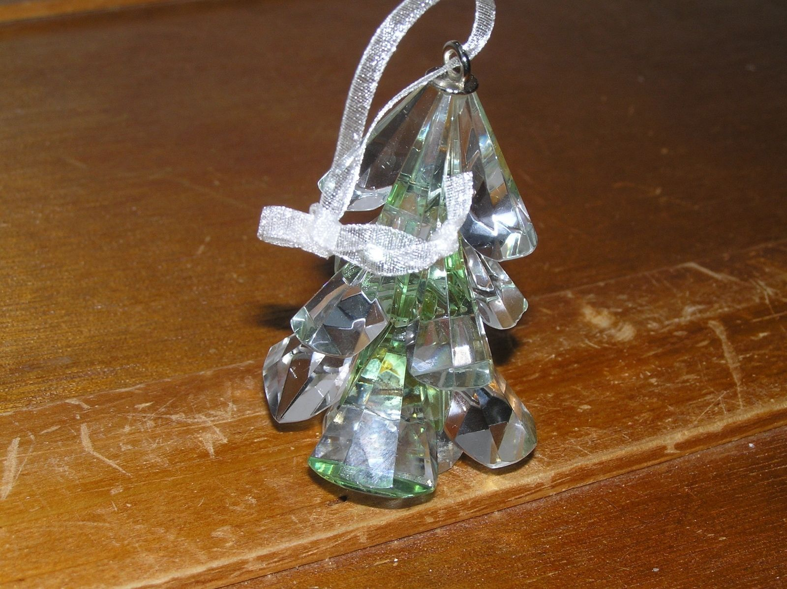 Estate Light Green Faceted Crystal Glass Christmas Tree Ornament – 2.5 x 1
