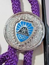 LAKE PLACID SOUVENIR BOLO TIE ENAMEL PENDANT OLYMPICS NY PURPLE CORD MOU... - $15.00
