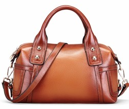 New Brown Pebbled Italian Leather Satchel Handbag Shoulder Bag 1843 - $144.95