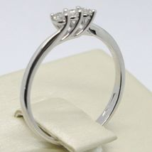 White Gold Ring 750 18K, Trilogy with Diamonds Carat 0.12, Made in Italy image 4