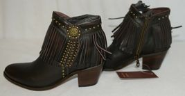 Lucky And Blessed SH 11 Dark Brown Leather Boots Fringe Metal Studs Size 7 image 3