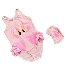 Baby Girl Swimsuit Cute One Piece Swimwear Swim Hat Toddler Kid Flamingo L - $17.28
