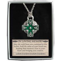 Memorial Locket Necklace Celtic Cross NEW Ash Urn Inside In Loving Memory Ashes - $27.71