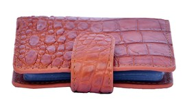 Newly Fuzzy Wuzzy Brown Button Closure Precise Crocodile Leather Card Wallet - $179.99