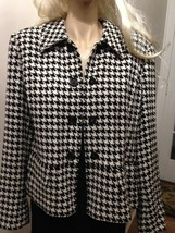 Liz Claiborne, Size L, Hounds Tooth, Black and White Top Coat - $28.45