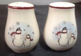Royal Seasons Stoneware Christmas Winter Snowman Salt & Pepper Shaker Set - $6.90