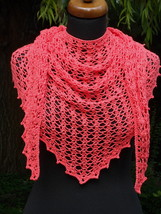 Crochet triangle Shawl, Pink lace shawl, Pure cotton scarf, Summer Croch... - €41,37 EUR