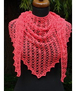 Crochet triangle Shawl, Pink lace shawl, Pure cotton scarf, Summer Croch... - $45.00