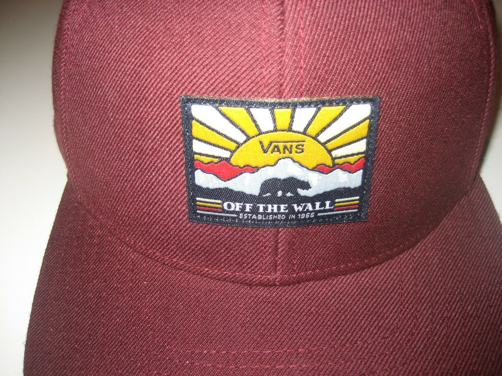Vans Mens Grizzly Mountain Bear Wool Blend Hat Maroon Adjustable Free Ship NWT image 2