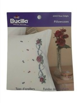 Bucilla Rose Delight Pillowcase Pair Floral Stamped Cross Stitch Needlep... - $19.75