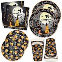 "Halloween Party Supplies Set 24 9"" plates 24 7"" plates 24 9 Oz cups 50 L... - $25.97"
